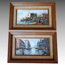 Pair Paintings. Venice Scenes.  Oil on Canvas.  1900-1920.