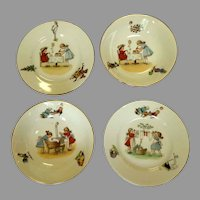 Nursery Dishes.  German 1920.  2 Sets.  Cereal / Soup Bowls & Under plates.  Charming.  Mint Condition.