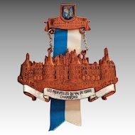 Souvenir Medal.  International Walk.  1980.  Chambord Castle in France.  Brooch.