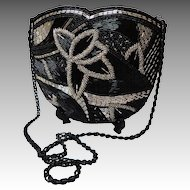 Art Deco All-Over Beaded Purse.  Silver & Black.  Long Beaded Strap.  Absolutely gorgeous.