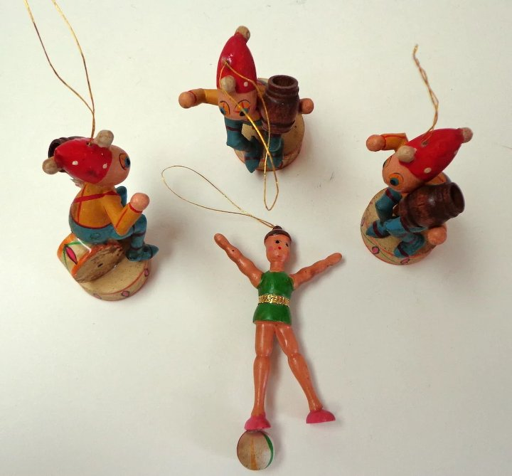 german painted wood christmas ornaments circus theme v old five