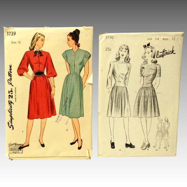 1940 Two Unused Sewing Patterns. Butterick size 14 & Simplicity Size ...