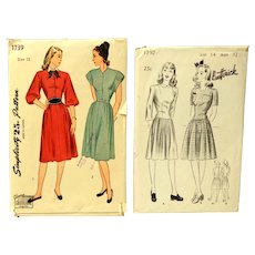 1940 Two Unused Sewing Patterns.  Butterick size 14 & Simplicity Size 12.