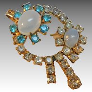 Jay Flex  Sterling Combination Brooch Pendant.  Moonstones & Rhinestones.  Delicate Beauty.