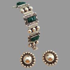 Diaz Santoyo Heavy Sterling Silver & Carved Green Onyx Bracelet and Sterling Earrings.  Mexico.  Unusual.  Striking.