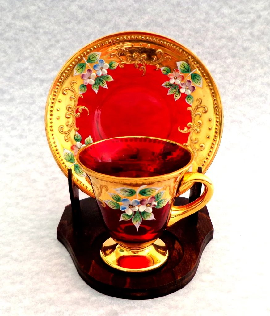 Moser Demitasse Cup And Saucer And Stand Cranberry Gold