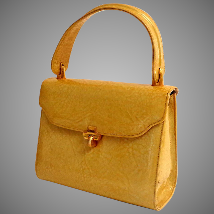 97914aa3ff61 Yellow Patent Leather Purse 1960 Special Detailing Box Style