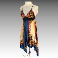 1990 Sun or Evening Dress.  MWT.  Handkerchief Hem.  Satin Polyester.  Size L.  As New.