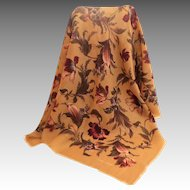 LAURA ASHLEY 100% Fine Wool Scarf.  Tan and Wine Florals.  As New Condition.