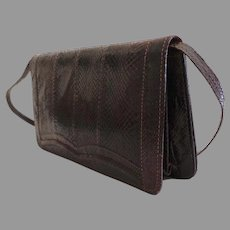 Genuine Lizard Convertible Clutch / Shoulder Purse with Matching Belt.  Brown.