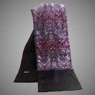 Men's 100% Wool and 100% Silk Scarf / Muffler. Black and Wine and Blue Paisley Pattern. As New Condition.