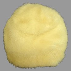 Genuine Canadian White Mink Hat.  High Pillbox Style.  Mint Condition.