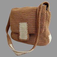 SAK Purse.  Crochet Shoulder / Tote.  Smaller Size.  Baize and White.  Super Versatile.  As New Condition.