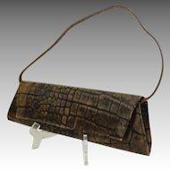 Genuine Leather DANIER Convertible Clutch / Handbag.  Brown Embossed Crocodile Design.  As New Condition.