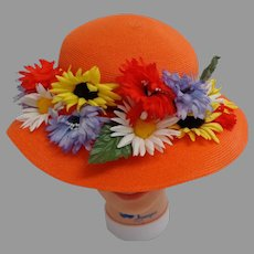 Orange Semi-pancake 1920's Style Easter Bonnet.  Adorable.  Mint Condition.