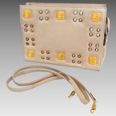 Genuine Leather. RO-EL Crossbody Convertible Clutch Shoulder Bag.  Taupe with Golden Studs.  Made in Canada.  Super Quality.  Mint Condition.