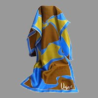 100% Silk VERA Oblong Designer Signed Scarf.  Hand Rolled.  Blue, Olive, and Brown.  Mint Condition.