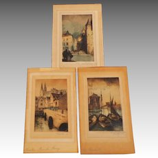 3 Exquisite  Small French Engravings of Chartres.  Aquatints.  Signed. Antique. Very Old.