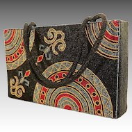All Over Beaded Rectangular Box Firm Sided Purse.  Wonderful Beaded Graphics. Quality ++.  As New Condition.