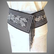 Silver and Gray Wide Tapered Belt.  Striking Quality.  As New Condition.