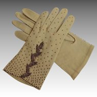 Handmade in Hong Kong 1940's Beaded Gloves.  Pale Tan. Double Woven Cotton.  Mint Condition.