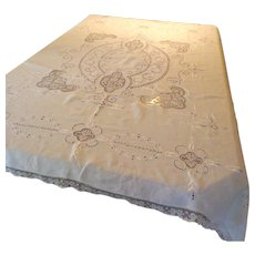 Antique Hand Embroidered & Needlework  Linen Table cloth. 12 Matching Napkins & 8 Cocktail Napkins.  Incredible. Upper Class  Provenance.