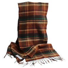 Made in Scotland. 100% Cashmere Plaid  Scarf.  Browns.  As New Condition.