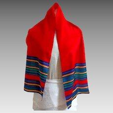 LIZ CLAIBORNE Signed Designer Scarf.  100% Silk. Red with stripes.  Spectacular.