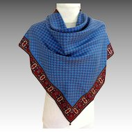 Italian Pure Silk Top Quality Scarf.  Blue Ground. As New Condition.