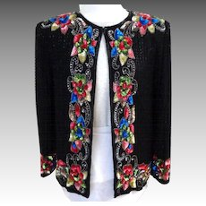 SWEELO  Floral and Black  All Over Beaded and Sequinned Silk Jacket.  Super Gorgeous.  As New Condition.