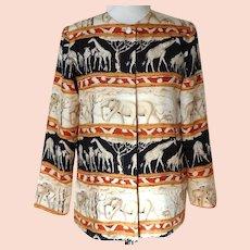 Light Ladies Jacket.  Wonderful Graphics.  Made in Hanoi.  Mint Condition.