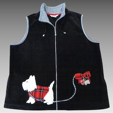 Scottie Dog Arctic Fleece Black Vest.  Size L.  Adorable. Perfect Condition.