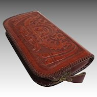 Genuine Leather Zippered Clutch.  Tooled Mayan Scenes Front & Back.  Near Fine Condition.