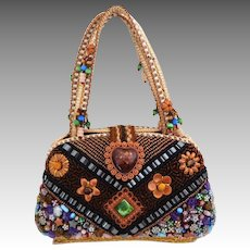 All Over Beaded and Braided Hard Sided Box Purse.  Totally Charming!  As New Condition.