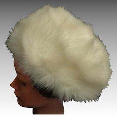 GALERIES LAFAYETTE PARIS. Faux Fur Large, Gorgeous Pillbox Style Hat. Pale Cream.  As New Condition.