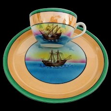 Lustreware Cup and Sandwich Plate / Sandwich Plate Set.  Ship / Galleon Decorated.