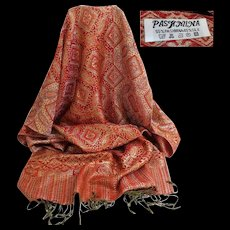 PASHMINA Gold and Red. Super Gorgeous.  Super Large.  As New Condition.