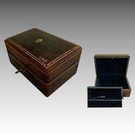 "Italian Green Leather 2 Tier Jewel Case.  6"" by 4"" Size.   Lock & Key.  Gold Embossed."