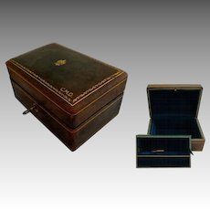 "Italian Green Leather 2 Tier Jewel Case.  6"" by 4"" Size.   Lock & Key.  Gold Embossed."