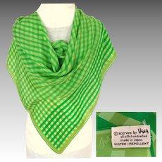 100% Silk VERA Signed Scarf.  Green. Perfect Condition.