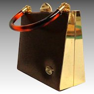 SWAN COLLECTION Evening Bag / Purse.  Bronze and Gold Tone.  Lucite Handle.  Super Chic.