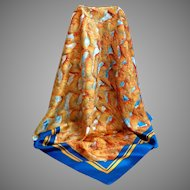 100% Silk Andre Claude CANOVA Scarf.  Made in  France. Signed.  Blue & Gold. Gorgeous. Near Fine Condition.