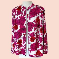 JONES NEW YORK Long sleeved Blouse.  Royal Purple & Red Flowers on White. Size 16W.  As New Condition.