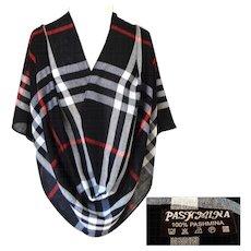 100% Pashmina.  Black, White, Red Plaid.  Elegant Quality.  As New Condition.