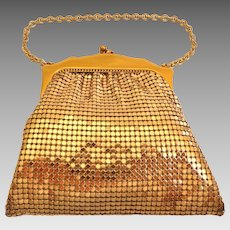 Very Small Unusual. Whiting and Davis Gold Mesh Purse. Adorable.  Mint Condition.