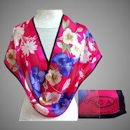 OSCAR de la RENTA Designer Signed Silk Scarf.  Super Gorgeous. Rose and Purple.  As New Condition.