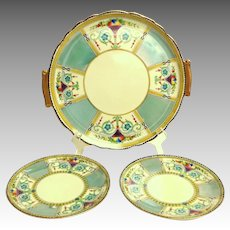 Exquisite Noritake Sandwich Plate & 2 Side Plates.   Heavily Gilded. Fruit Baskets.  Grey/Blue and cream.