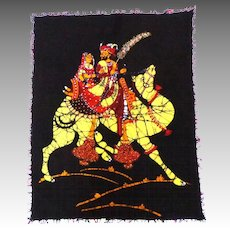 BATIK Cotton Textile Art.  Hand Dyed and Painted.   Indonesian.  Lovers on a Racing Camel.