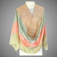 100% Thai Silk Pashmina / Shawl / Wrap.  Extra Large. Pastels.  As New Condition.