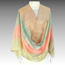 100% Thai Silk Pashmina / Shawl / Wrap.  Extra Large. Pastels.  As New Condition.